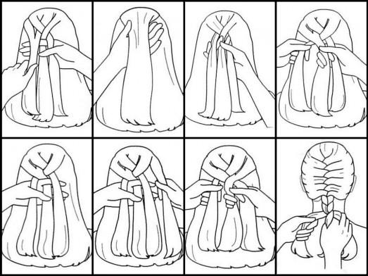 Коса колосок имеет свой алгоритм плетения