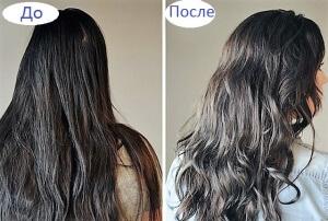 Волосы до и после ухода с помощью майонезной маски