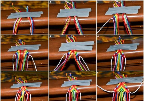 Во время плетения фенечки закрепляются скотчем или другими материалами