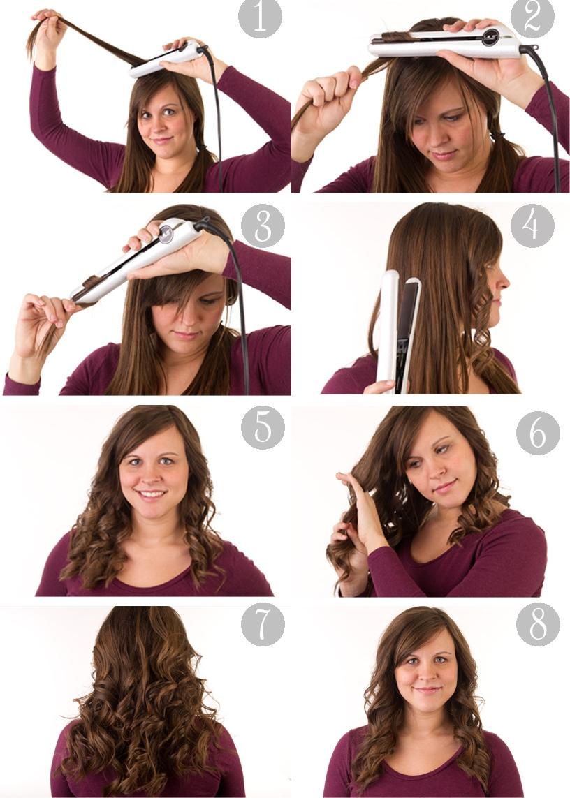 Процесс завивки волос утюжком представлен на пошаговой картинке