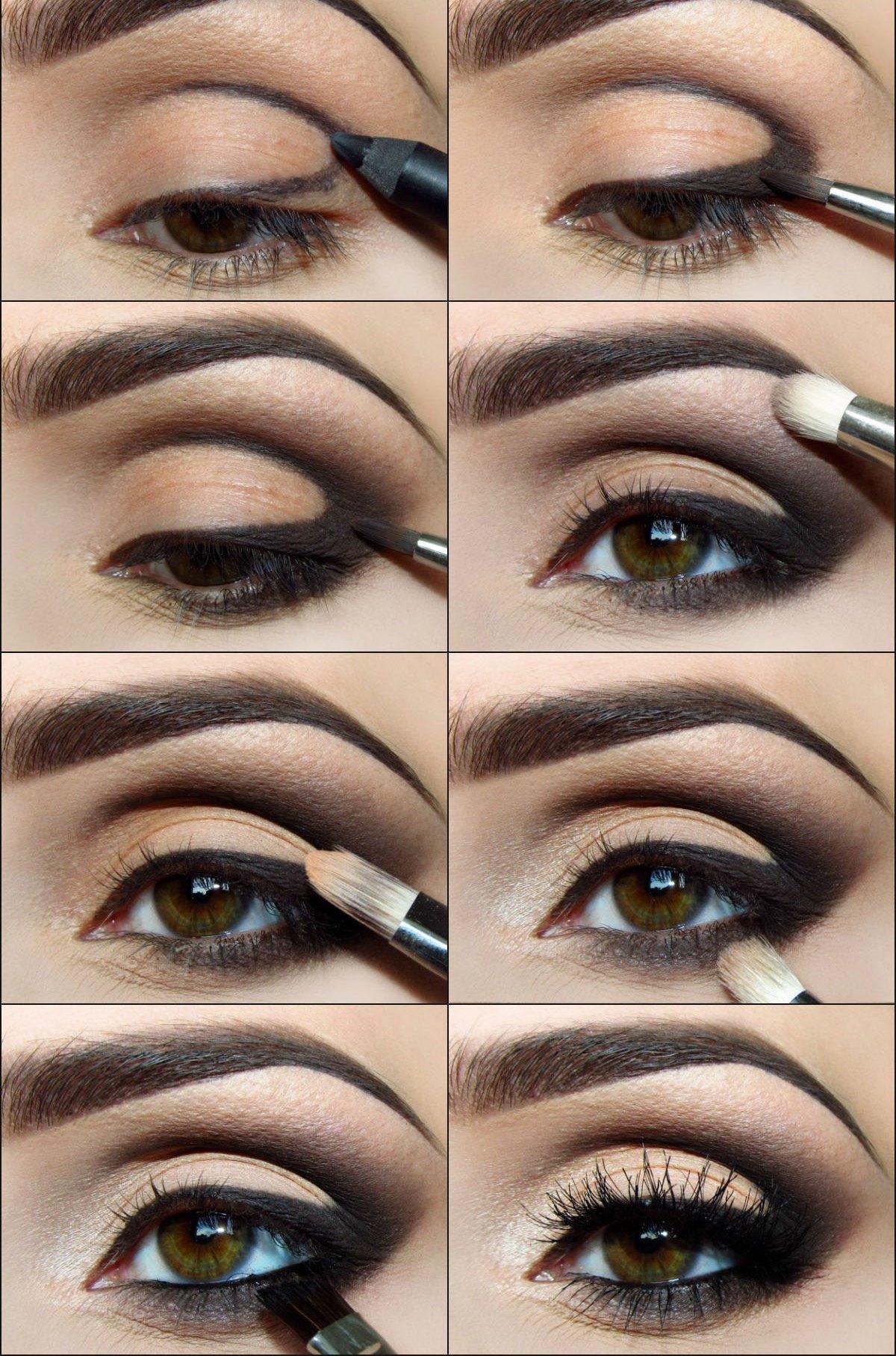На картинке представлено пошаговое выполнение макияжа